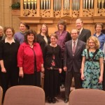 Back L-R: Judy Wright, Jack Stoneman, Jennifer Morgan, Sheri Peterson, Paul Duncombe, Jerri Bearce. Front Kymberly Stone, Heidi Rodeback, Becky Azera, Miranda Wilcox, David Chamberlin, Rebecca Anderson, Jay Goodliffe. Provo Central Stake Center, Bigelow tracker organ