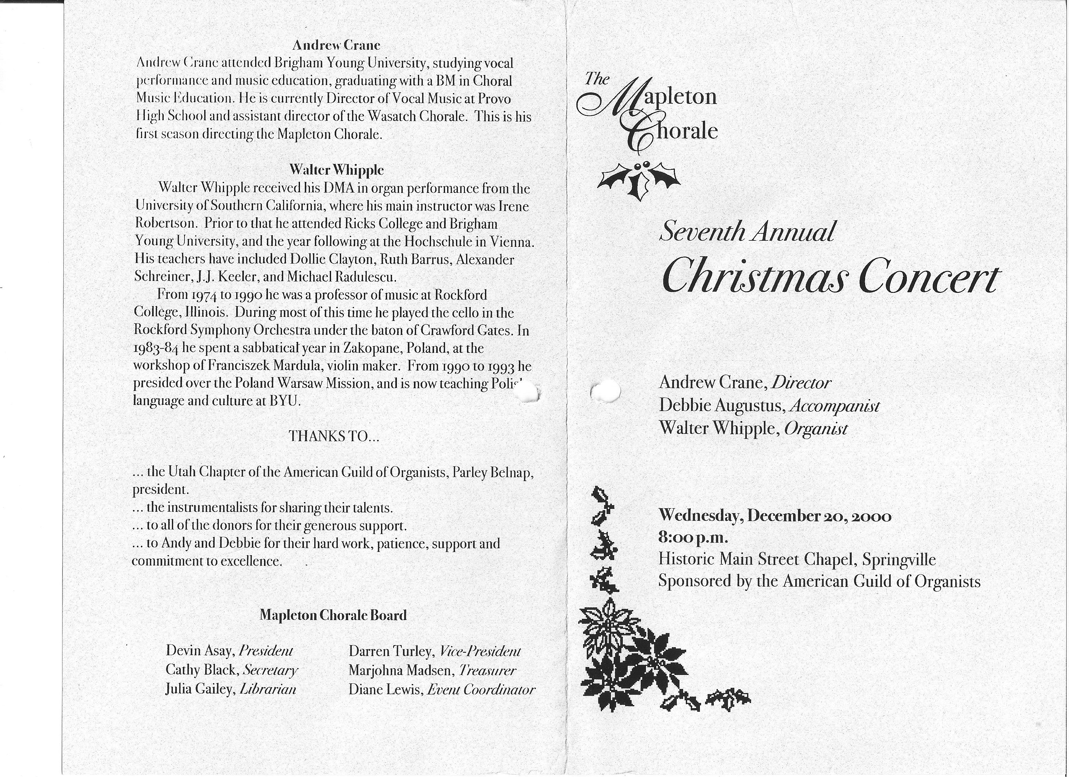 2000 12 Mapleton Chorale Christmas Concert program page1 – Concert Program