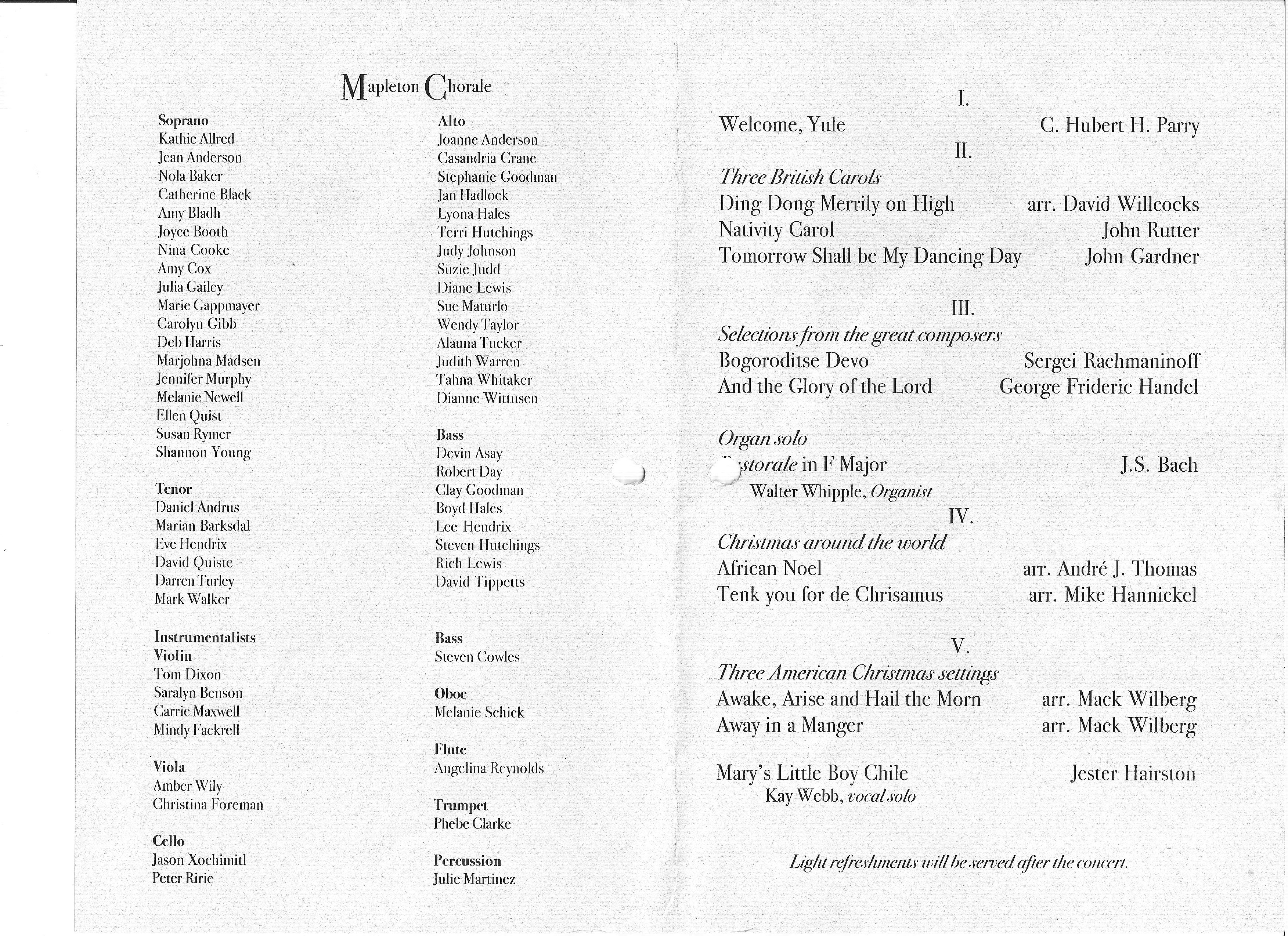 2000 12 Mapleton Chorale Christmas Concert program page2 – Concert Program