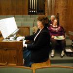 Gayle Farnsworth at organ, Lella Pomeroy, Claire Rogers